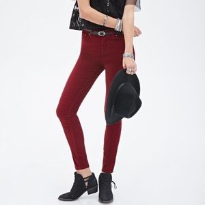 Forever 21 Red Mid Rise Skinny Corduroy Pants